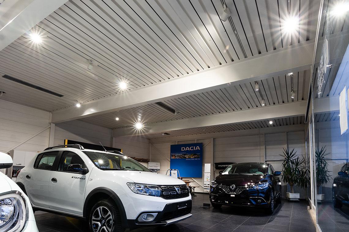 éclairage intérieur garage showroom