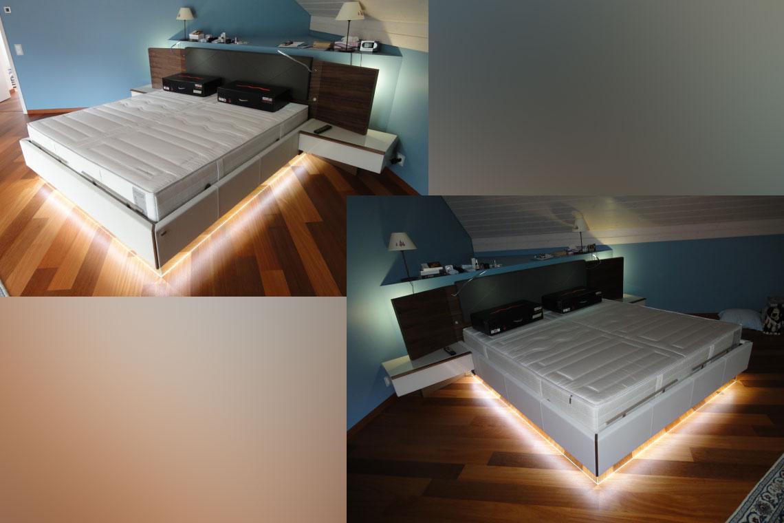 éclairage led sur mesure pour un meuble lit